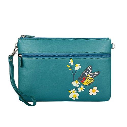 Menkai borsa della donna tracolla disegno Royal Blue farfalla 651D1 Peacock