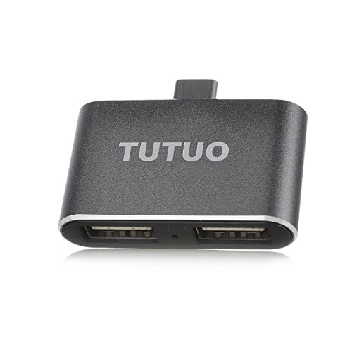 TUTUO USB Hub Type C auf USB-A x 2 Ports Adapter OTG Hoch Kompatibel für MacBook Pro, Chromebook Pixel, Nexus 5X / 6P, Huawei P9 P10, Samsung Galaxy S8 Note 8, OnePlus 5, Lumia 950 XL und mehr (Grau) (Imac G5-tastatur)