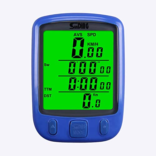 LovelysunshiDEany Fahrrad Fahrrad LCD Computer Kilometerzähler Mit Hintergrundbeleuchtung Monitor Geschwindigkeit Entfernung Und Fahrzeit - Blau