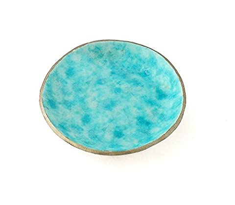 Turquoise Blue Trinket Ring Dish Holder with Gold Tone Trim, Handmade Jewellery Tray Storage Organiser Gifts, Home/Bedroom