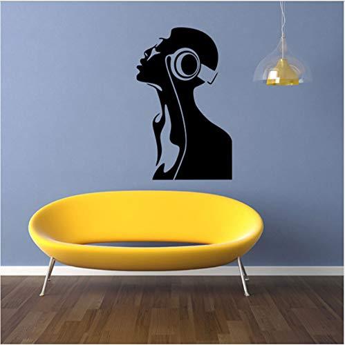 Hören Sie Musik Mädchen Abnehmbare Wandaufkleber Kinderzimmer Wohnkultur Pvc Kunst Hintergrund Aufkleber Muraux Pegatinas De Pared