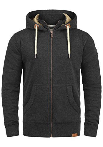 !Solid Trip-Zip Pile Herren Sweatjacke Kapuzen-Jacke Zip-Hoodie mit Teddy-Futter aus Hochwertiger Baumwollmischung, Größe:XL, Farbe:D Gre Pil (P8288)