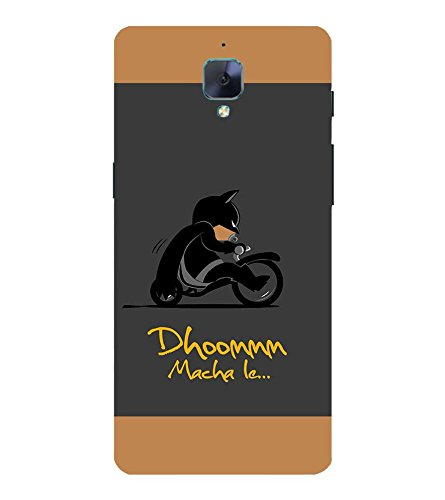 Takkloo Dhoom macha le ( Bat in Black, Super hero on black bike, man wearing black mask, Cartoon, Grey Background) Printed Designer Back Case Cover for OnePlus 3T  available at amazon for Rs.400