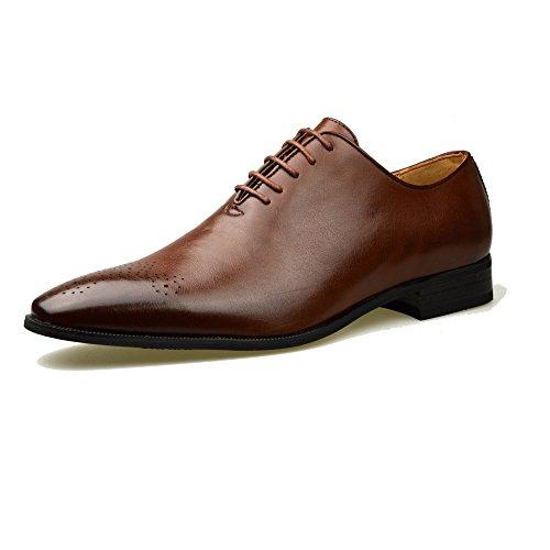 Scarpe da uomo, alla moda, nere, in pelle oxford, formali, misure eu 40-41-42-43-44-45, marrone (tan), 40 eu