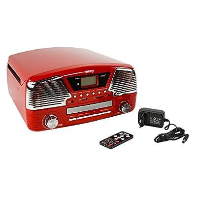 Camry CR 1134R Radio et Tourne-Disques avec CD/MP3/USB, Fonction Enregistrement Rouge par Camry