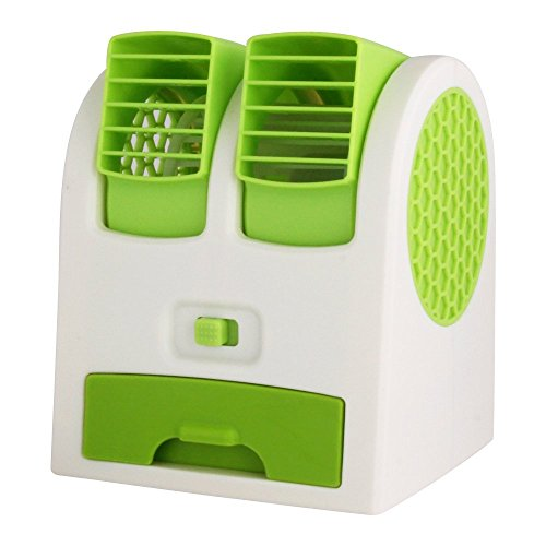 CP Bigbasket Mini USB Adjustable Angles Dual Air Outlet Fan Electric Air Fan Cooling Desktop Portable Bladeless Blower Mini Cooler Fan With USB Socket Battery (Colour May Vary).