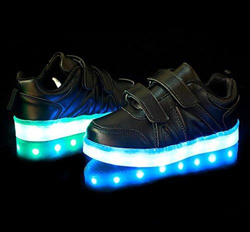 Wealsex Baskets Mode Scratch PU Cuir LED Lumière Clignotant 7 couleurs USB Rechargeable Noir Blanche Or Argent Enfant Unisexe Garçon Fille Noir