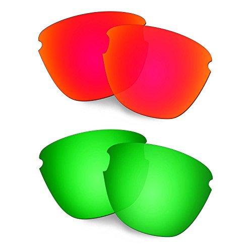 HKUCO Verstärken Ersatz-Brillengläser für Oakley Frogskins Lite Rot/Grün Sonnenbrille