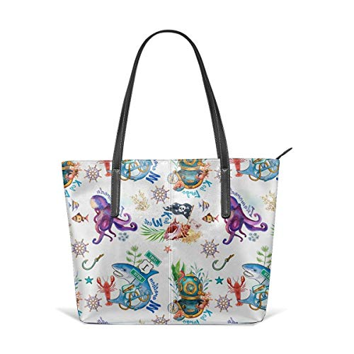 XGBags Pirate Octopus Skull Men Women Leather Tote Bags Satchel Top Handle Bags Shoulder Leisure Handbags For Ladies Shopping Bag Office Briefcase Tote Umhängetaschen