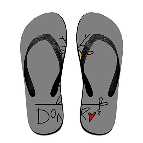 Donner Reindeer Christmas Unisex Adults Casual Flip-Flops Sandal Pool Party Slippers Bathroom Flats Open Toed Slide Shoes Small Christmas Free Cell