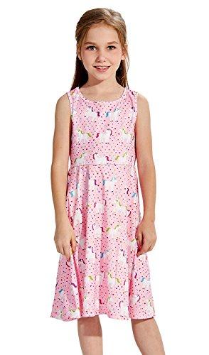 Funnycokid Kinder Mädchen einfach Lässig Ärmellose Skater Kleider 7-8 Jahre (Kleid Mädchen Einfach)