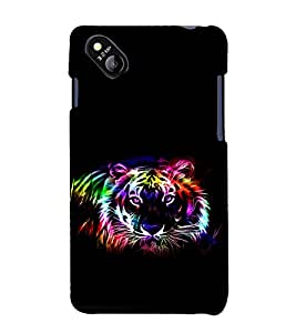 printtech Tiger Colored Streak Back Case Cover for MicromaxBolt D303