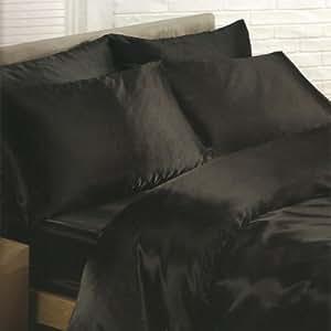 parure de lit satin noire 1 personne pour lit 90x190 cm housse de couette drap housse taies. Black Bedroom Furniture Sets. Home Design Ideas