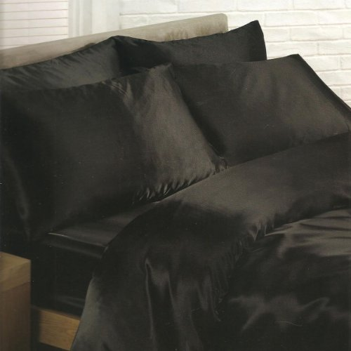 Black Satin Single Duvet Cover, Fitted Sheet and 2 Pillowcases Bedding Set