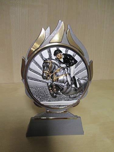 Fanshop Lünen Reiten - Reiter - Springen - Pferde - Reitsport - Pokal (mit 70mm Emblem) - Resin - 3D-Optik - Ständer - Trophäe - Pokale - Turnier - Geburtstag - mit Gravur -(a280) -