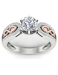 Naitik Jewels 92.5 Sterling Silver White & Rose Gold Solitaire Wedding & Engagement Ring For Women
