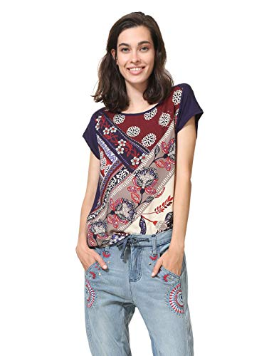 Desigual T- Shirt Short Sleeve GANGES Woman Blue, Bleu (Navy 5000), M Femme