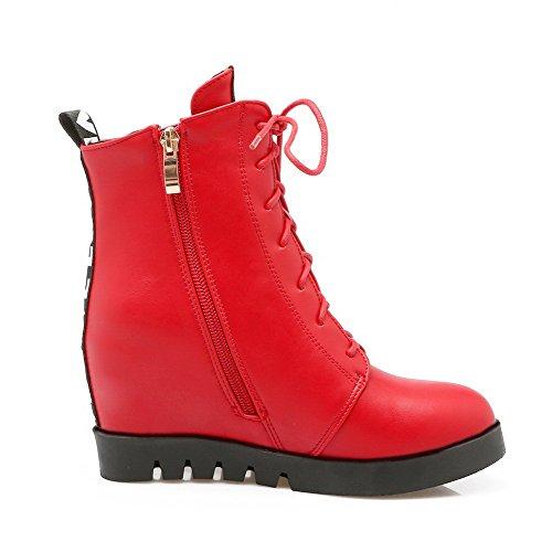 AllhqFashion Damen Rund Zehe Hoher Absatz Niedrig-Spitze Gemischte Farbe Stiefel, Rot, 42