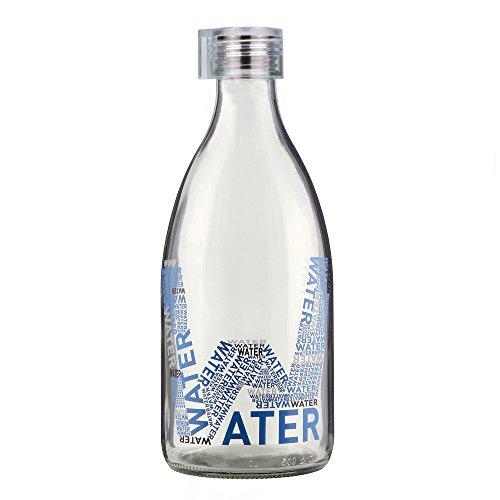 Grip & Go 1.0L Glas Kühlschrank Flasche–Silikon Stopper Klar Deckel Transparent Water Design 1 Liter