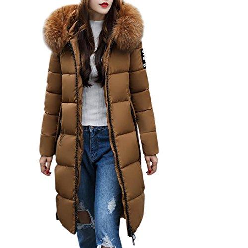 FORH Damen Winterjacke Wintermantel Lange Daunenjacke Jacke Outwear Frauen Winter Warm Daunenmantel Solide Lässig Dicker Steppjacke Winter Slim Down Jacke Mantel mit Pelzkragen (Kaffee, L) -