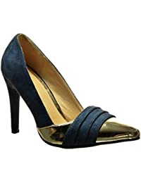 Angkorly - Chaussure Mode Escarpin stiletto sexy bi-matière femme doré Talon  haut aiguille 10 7ca7fcca6c3a