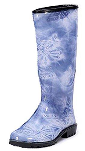 Ein bißchen Damen schöne rutschfest Atmungsaktive Outdoor Arbeits-Gummistiefel Blau