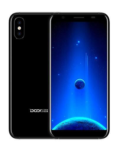 Günstiges Handy Ohne Vertrag, DOOGEE X55 2019 Dual SIM 3G Smartphone Ohne Vertrag unter 100 Euro, 1GB RAM+16GB ROM, 5.5'' 18:9 Display, 2800mAh, Dual Kameras 8.0MP+8.0MP, Fingerabdruck, Schwarz