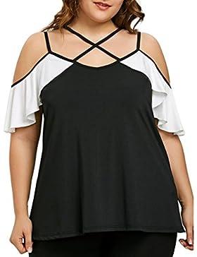 Camisetas Tirantes con Volantes Mujer LHWY, Camiseta De Costura Talla Grande Casuales Tops Suelto Verano