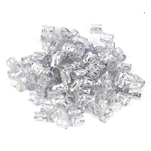 KANEED Hauptbänder Hoops 3 Stück Dreadlocks Aluminium Reis Perlen Haarschmuck (Silber) (Farbe :...