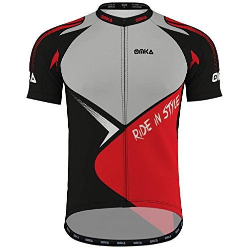 OMKA Herren Radtrikot Fahrrad Radler-Trikot Racing Performance Shirt mit Sublimationsdruck, Größe:XL