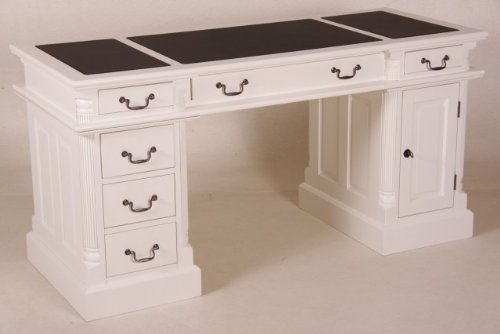 Casa Padrino desk solid pine England White with leatherette cover