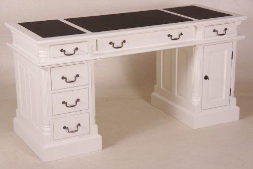 Casa Padrino Schreibtisch Kiefer Massiv England Weiß mit Kunstlederbezug 160 cm - Englischer...