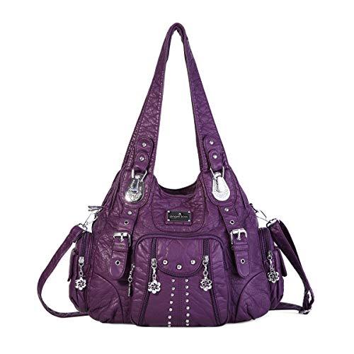 angel kiss Hobo Tasche Schultertaschen Handtaschen Umhängetaschen Henkeltaschen Fredsbruder Taschen Damen Weiches Leder Violett