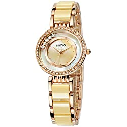 KIMIO New Analog Display Rhinestone Case Shell Dial Luxury Gold Fashion Lady Fashion Casual Watch Quartz Watch Women Wristwatch