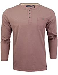 d6428f206095 Brave Soul Mens Mitchell Grandad T-Shirt Long Sleeved Buttoned T Shirt