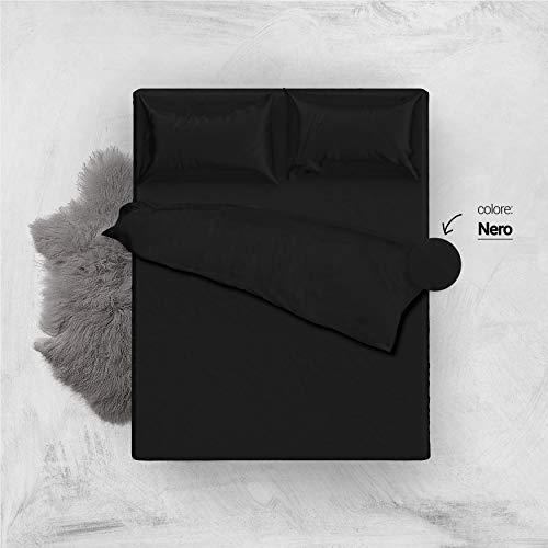 L'antico arcolaio set completo letto lenzuola 100% cotone tinta unita (nero, matrimoniale 2p)