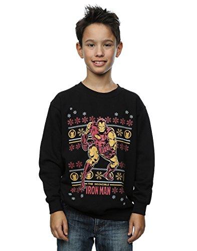Marvel Jungen Iron Man Fair Isle Christmas Sweatshirt 12-13 years Schwarz (Jungen-fair-isle-pullover)