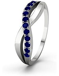 21Diamonds Damen-Ring Brookelyn Verlobungsring blauem Saphir Brillantschliff, 14 Karat (585) Weißgold Verlobungsringe