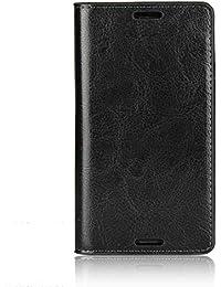 Sony Xperia Z3 Compact Hülle, DENDICO Premium Flip Leder Brieftasche Handyhülle, Kartenfach / Standfunktion / Magnetverschluss Wallet Tasche Schutzhülle Anti-Shock Etui für Samsung Sony Xperia Z3 Compact - Schwarz