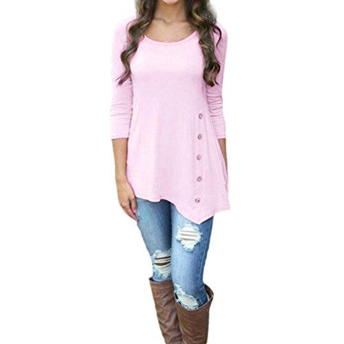 Blusen Damen Longra Festliche Blusen Blusenshirt mit Knopfleiste Damen Tunika Blusen Rundhals Lose Hemdbluse Damenmode Kleidung Schöne Oberteile Langarmshirt (Pink, 5XL) (Hals-tunika)