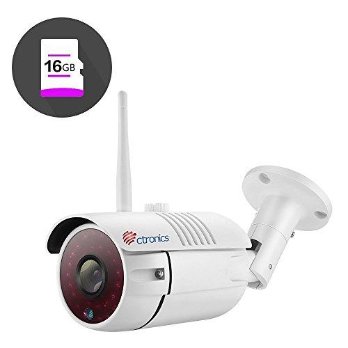 (16GB SD-Karte) Ctronics drahtlose Bullet WiFi IP Kamera mit 720p HD, 30m IR-Nachtsicht durch 30 LEDs, ONVIF 2.0 (inklusive 16GB SD-Karte) CTIPC-255CW720PS (Ip-kamera Wlan-sd-karte)