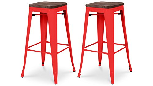 Tabouret de bar design industriel HARLEM (lot de 2) rouge
