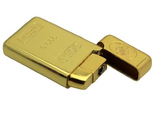 Original Oramics Designer Feuerzeug - Goldbarren-Design - Exklusives Design - Metallgehäuse - Aufklappbarer Deckel