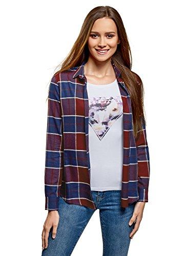 oodji Collection Mujer Blusa Ancha con Bolsillo en el Pecho, Rojo, ES 36 / XS