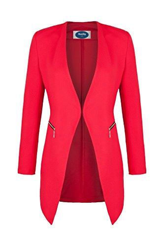 AO Long Blazer kragenlos mit Zipper rot Gr. XL