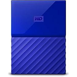WD - My Passport - Disque dur externe portable USB 3.0 avec sauvegarde automatique et sécurisation par mot de passe - 1To, Bleu