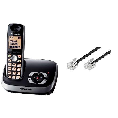 Panasonic KX-TG6521GB Schnurlostelefon mit Anrufbeantworter schwarz & Goobay 50317 Modularanschlusskabel 3 Meter, Schwarz - RJ11/RJ14-Stecker (6P4C) auf RJ11/RJ14-Stecker (6P4C)