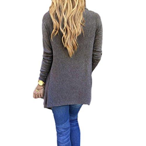 Donna Maglione Maglia Camicetta JLTPH T Shirt Manica Lunga Maglietta Blusa Asimmetrica Casual Elegante Maniche Lunghe Nappe Ufficio 3