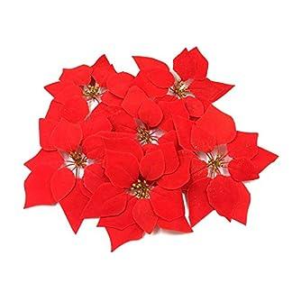 WEKNOWU Paquete de 30 Adornos de Navidad de Flores Artificiales de Pascua Rojas, decoración de árbol de Navidad, Seda Realista, Cabeza de Flores de 8 Pulgadas de diámetro