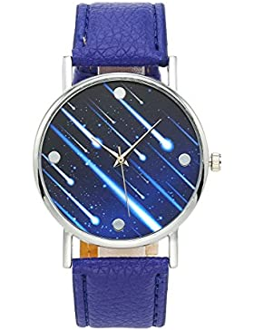 JSDDE Fashion Armbanduhr Meteor Muster Zeitloses Design Silber Analog Quarzuhr Lederarmband Kleid Uhren,Blau